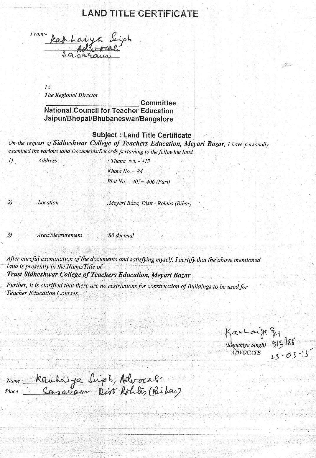 Land Title Certificate Sidheshwar College